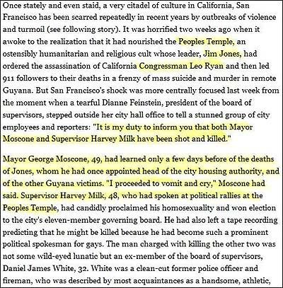 das time magazine brachte schon im dezember 1978 den zusammenhang milk peoples temple in einem artikel nach dem milk moscone mord der heute noch - Beileidsschreiben Beispiele